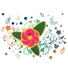 Tropical flower and floral ornament vector