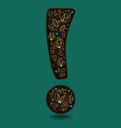 Vintage exclamation point with golden flowers vector