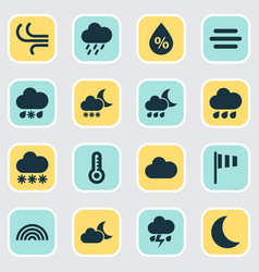 Weather icons set collection of snowy colors vector