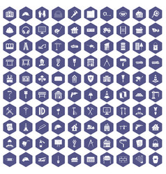 100 construction icons hexagon purple vector