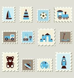 Postage stamps with toys vector image