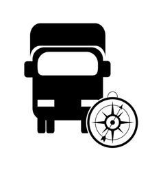 Truck or van with compass icon vector