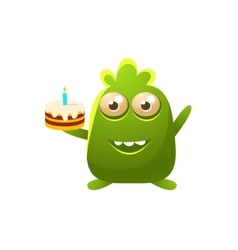Green toy monster with birthday cake vector