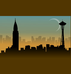 various building usa beauty scenery silhouettes vector image