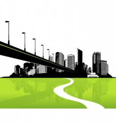 City with green reflection vector