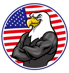 Eagle mascot show the muscle with american flag vector