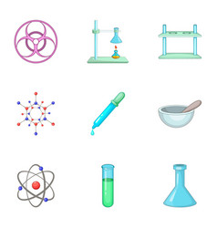 dangerous research icons set cartoon style vector image
