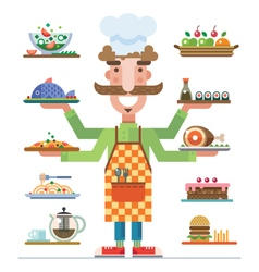 Served dishes vector
