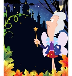 Fairy godmother near the ancient castle vector