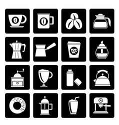 Black different types of coffee industry icons vector