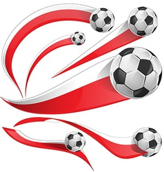 Poland japan and indonesia flag set with soccer vector