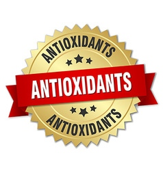 Antioxidants 3d gold badge with red ribbon vector