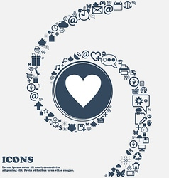 Heart sign icon love symbol in the center around vector