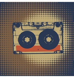 Audiocassette retro music background Audiocassette vector image vector image