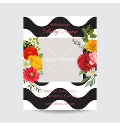 Baby arrival or shower card - with photo frame vector