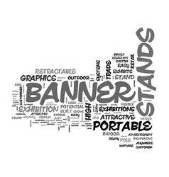 Banner stand exhibits text word cloud concept vector