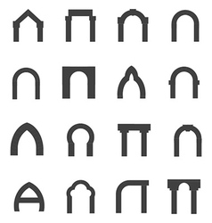 Black monolith icons for archway vector