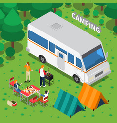 camping isometric composition vector image vector image