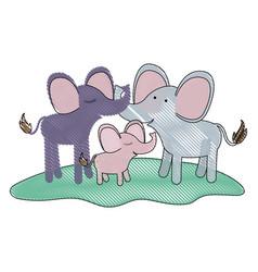 Cartoon couple elephants and calf over grass in vector