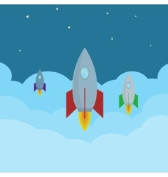 cartoon Rockets flying in clouds into the vector image