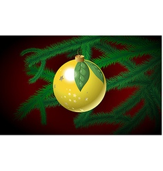 Christmas bauble on the branch vector image vector image