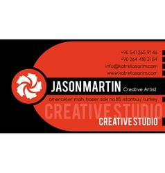 Creative orange business card vector image