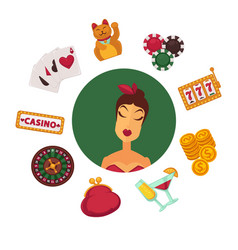 elegant female player in casino and equipment for vector image vector image