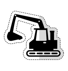 Excavator machine isolated icon vector