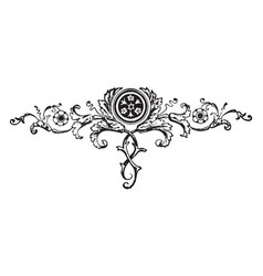 Floral motif have a dark circle in center vintage vector
