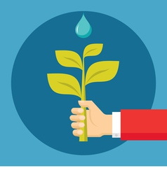 Human Hand with Sprout and Drop vector image vector image