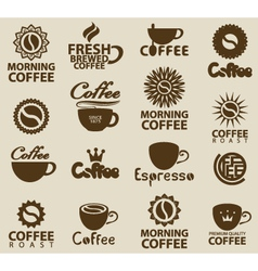 Logos on coffee vector