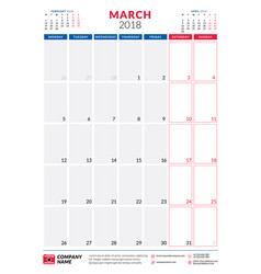 march 2018 calendar planner design template vector image vector image