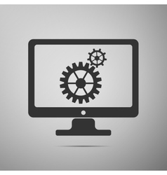 Monitor and gears flat icon on grey background vector