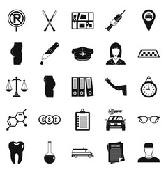panel icons set simple style vector image vector image