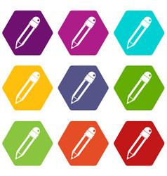 Pencil with eraser icon set color hexahedron vector