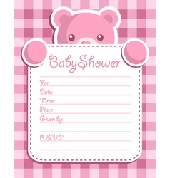 Pink bear baby shower card vector