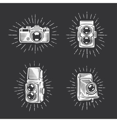 Retro photo cameras set Hand drawn vintage vector image vector image