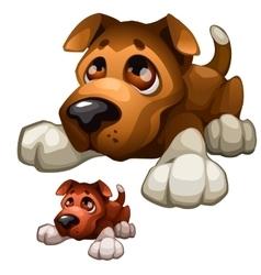 Sad brown cartoon dog isolated vector