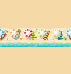 Seamless beach resort panorama with colorful vector