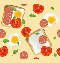 seamless pattern with breakfast vector image