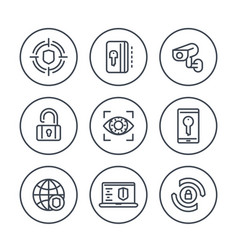 Security and protection line icons on white vector