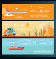 Set of horizontal travel banners in flat style vector