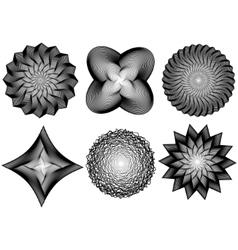 Set of line art 3d elements vector