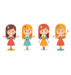 set of smiling cute girls in different poses vector image