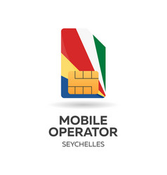 Seychelles mobile operator sim card with flag vector