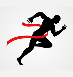 Silhouette of a sprinter at finish line vector