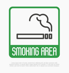 smoking area thin line sign vector image vector image