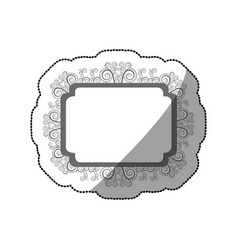 Sticker gray scale curved rectangle vintage vector