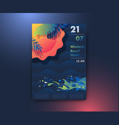 sun beach and sea poster design vector image