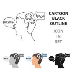 Understanding of foreign language icon in cartoon vector